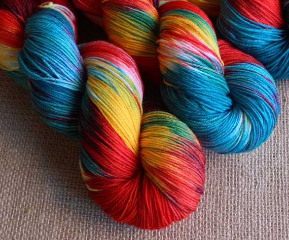 No Place Like Gnome - SW Merino & Nylon Fingering Sock Yarn - Hand Dyed Rainbow - 462 yds