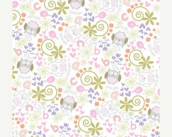 Purple Owls and Love Birds - Cotton Flannel Fabric - BTY
