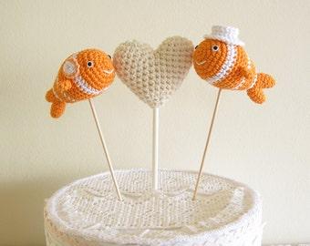 Fish Wedding Cake Topper, Crochet Clown Fish Beach Wedding Decor, Beach Cake Topper