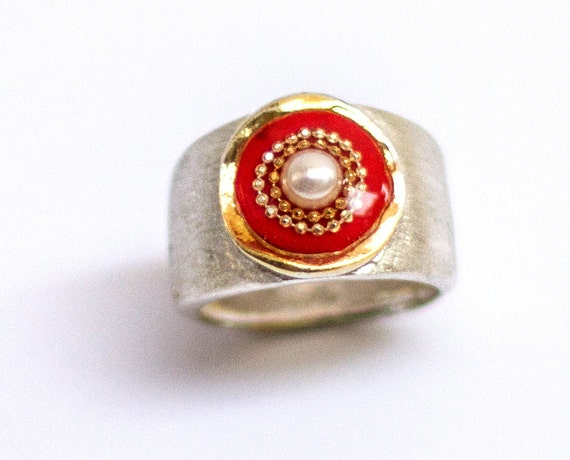 Pearl ring, Red ring, Sterling Silver ring with red top, wide ring, Red pearl ring, Anniversary ring, Israeli silver jewelry by Hila Welner