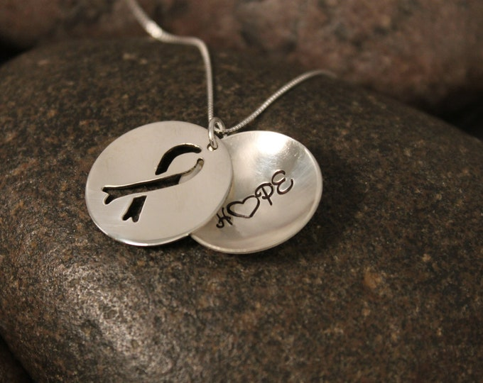 Custom Hand Stamped Sterling Silver Awareness Ribbon Locket Necklace