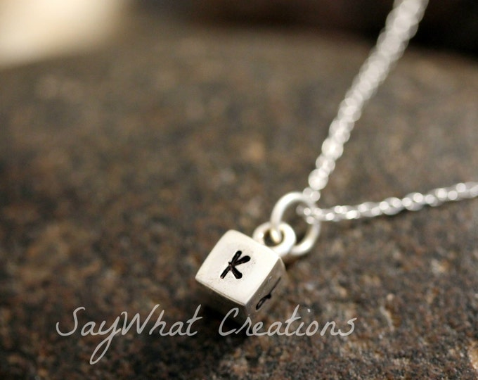 Sterling Silver Mini Cube Necklace with four initials