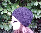 Slouchy beanie, black lace, adult size small/medium, vegan