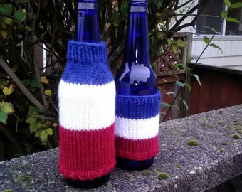 Bottle and can cozy, set of 2, red white and blue stripes, vegan