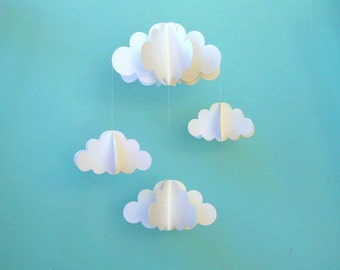 Cloud Mobile, Nursery Mobile, 3D Paper Cloud Mobile, Baby Mobile