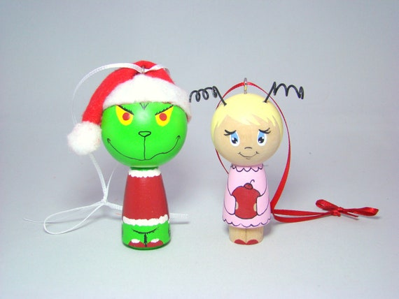 The Grinch Kokeshi Peg Doll Christmas Holiday Ornament