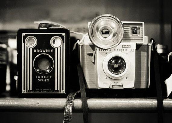"Camera Print ""A Pair of Kodak Brownies"" Fine Art Photography Still life Photo, Black and White photography Vintage camera print Office art"