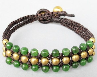Mini Triple Row Macrame Bracelet with Aventurine Bead B185