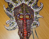 one of a kind, Dragon wall Sculpture, Masquerade mask, wearable art, Chinese dragon, Halloween Costume mask, larp, deep red and plum purple