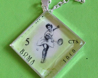 Tennis Stamp Pendant Necklace