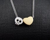 Adorable Kawaii Skull Love Heart Necklace in Silver & Gold