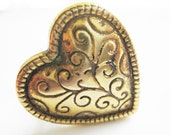 Reserved Antique Vintage Gold Heart-shaped Button Adjustable Ring