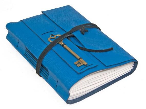 Blue Leather Journal Heart Key Charm Bookmark