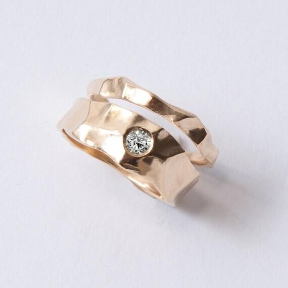 Wedding Ring Set - 14K Gold and Diamond engagement ring and a thin gold wedding ring, unisex ring, engagement ring, wedding band, mens ring