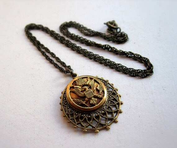 Military Necklace - Eagle - Filigree - Regalia - Crest - Coat of Arms - Vintage Button
