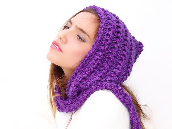 Crochet Braids Purple And Black : Purple crochet hat hood hooded scarf crocheted neck by Lasunka