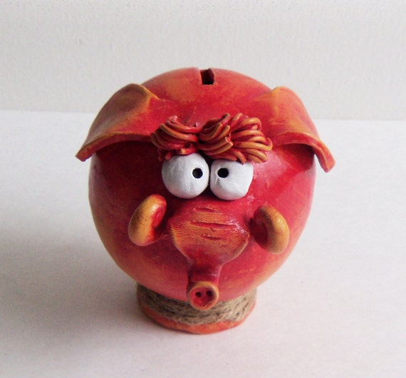 Red Ceramic Elephant PIGGY BANK -- BABY SHOWEr gift, Girl Personalized Piggy One of a Kind READy to SHiP
