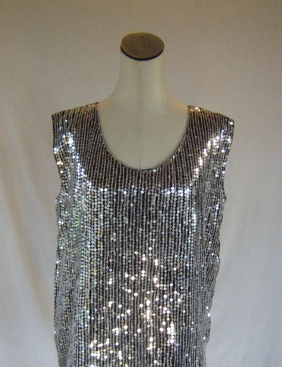 Eve's Allure Silver Sequin Tank Top Shirt Glam