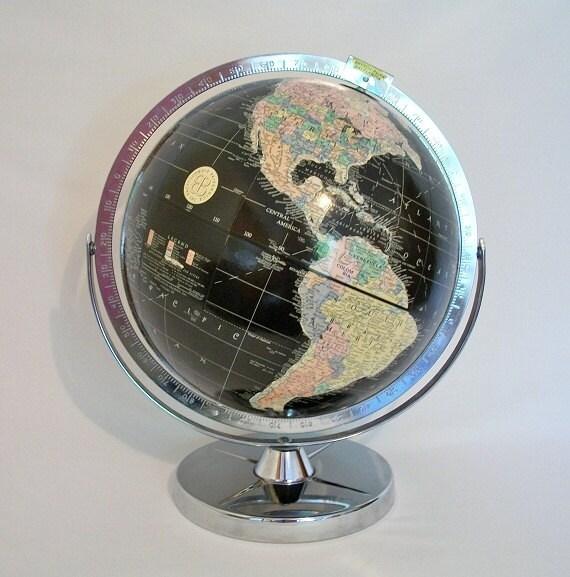 Vintage World Globe - Cold War Eames Retro - Replogle Black Oceans - TREASURY PICK