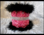 SATIN ROSETTE Fabric and Feather Boa W/Bling & Pearls Pencil Pen Makeup Holder. Teen Room Decor