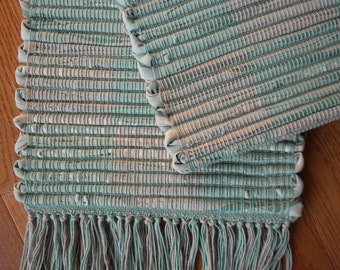 Handwoven Mint Green and Warm Tan Log Cabin Table Runner