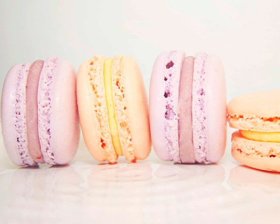 Purple lavender and Peach Macaron, macaron photo, french macaron, french macaroon, food photography, children's art, kitchen wall art