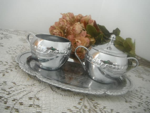 sugar and creamer set shabby chic serving set silver plate tray french country patina