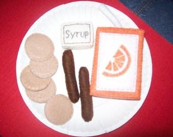Felt Pancake and Sausage playfood