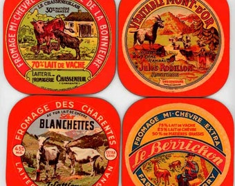 Set of Antique Goat Cheese Label Coasters C