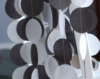 Tissue Paper Garland, Party Garland, Birthday Garland, Wedding Garland, Black and White Garland