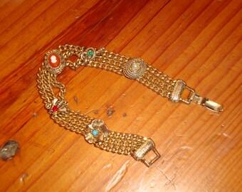 Beautiful GOLDETTE Signed Gold Plate 3-Strand Vintage Embossed & Etched FIVE CHARM Bracelet - Timeless