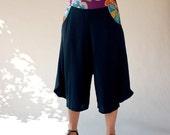 Sarouel bi-material/Navy deep blue women bottoms/Wide leg pants/hand made yoga pants