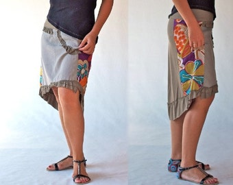 Asymmetry women skirts/ Hand made applique bottoms /wrap clothing/bi-material women dresses