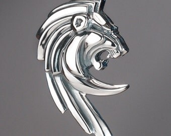 Lion Pendant/Enhancer in antiqued Sterling