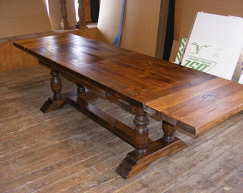 Draw Leaf Extension Dining Table Dark Pine Finish With 2 Inch Thick Top  Handcrafted Solid Pine