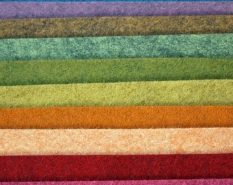 Heathered Wool Felt Palette - 12 x 12 in. Squares - 10 Sheets