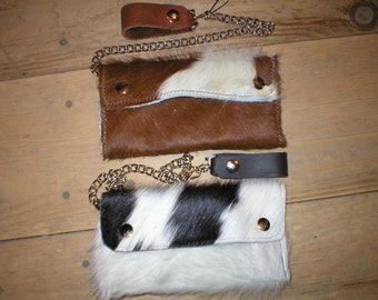 Handmade Leather hair-on hairy cowhide trifold large snap trucker biker Wallet w/ belt chain