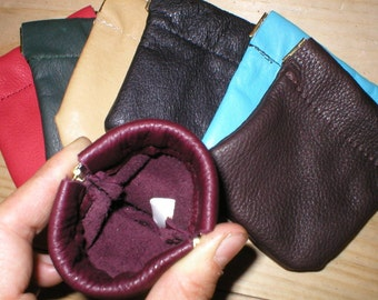 LEATHER Squeeze Facile Frame COIN CHANGE Pinch Pouch Purse Wallet Handmade your color