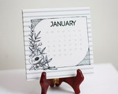2013 Desk Calendar, striped with hand drawn frames and vintage flower drawings, FREE SHIPPING until Nov. 20