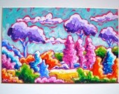"""Landscape, Painting, Utopian, Neon, Original, Home Decor, Acrylic on paper, Matted, 9"""" x 12"""", Ready to Frame, OOAK"""
