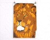 Lion linocut letterpress print