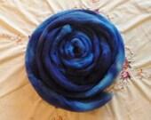 "BFL Combed Top, 4 oz, color ""Lapis Lazuli"", deep blue, for spinning or felting"