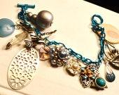 Charm Bracelet Upcycled Vintage Assortment  Boho Urban ShabbyParis Chic