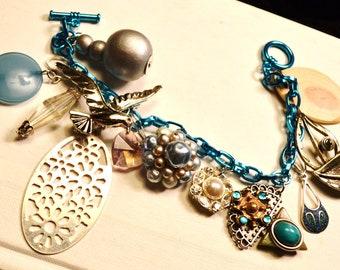 Charm Bracelet Upcycled Vintage Assortment  Boho Urban ShabbyParis Chic Sale