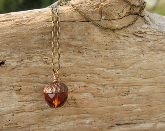 Acorn Necklace | Topaz Crystal | Czech Fired Glass | 12mm Bead | Antiqued Bronze Brass 18 Inch Necklace.