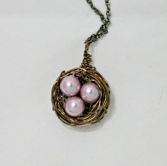 Nest, personalize your necklace bird's nest. , color is antiqued brass wire with your beads,  (N2)