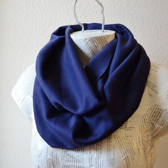 Navy Infinity Scarf from Cotton Knit