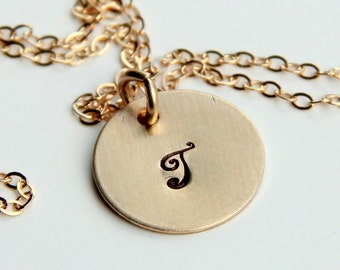 Wedding Date Necklace, Hand Stamped Gold Necklace, Roman Numeral Necklace, Initial Pendant, Name necklace, Monogram