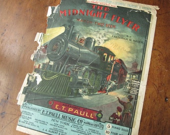 "Sheet music, ""The Midnight Flyer,"" COVER ONLY, vintage 1903, railroad train locomotive, transportation, E.T. Paull march, Victorian"