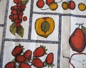 Luther incognito in yellow and red. Vtg linen kitchen towel, MWT. Excellent condition.